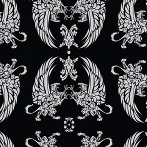 Griffin Damask Grey on Black 2inch