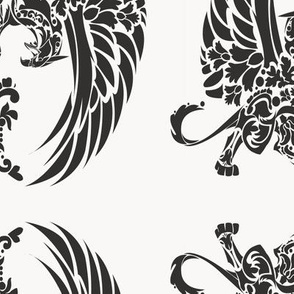 Griffin Damask black on light grey