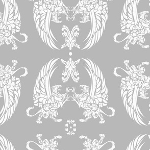 Griffin Damask white on silver 2inch