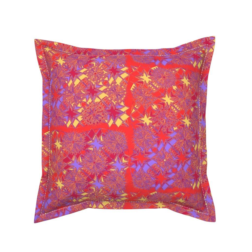 Serama Throw Pillow featuring Starburst Metallic Orange L.Purple Yellow  by deanna_konz