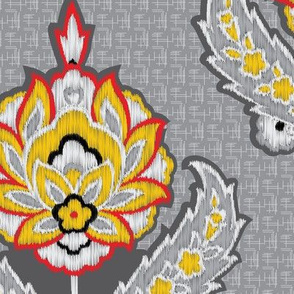 Ethnic Tribal Ikat Floral Damask Large Scale  || Gray grey black white red yellow Embroidery Texture _ Miss Chiff Designs
