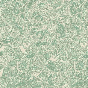 Extremely detailed   inspired pattern, green