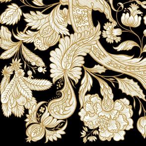 Dutch Sitsen ~ Anika ~ Gilt Gold and White on Black