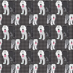 17-14J Old English Sheep Dog Polka dot  || Farm Pet Animal Black Gray grey Pink white _ Miss Chiff Designs
