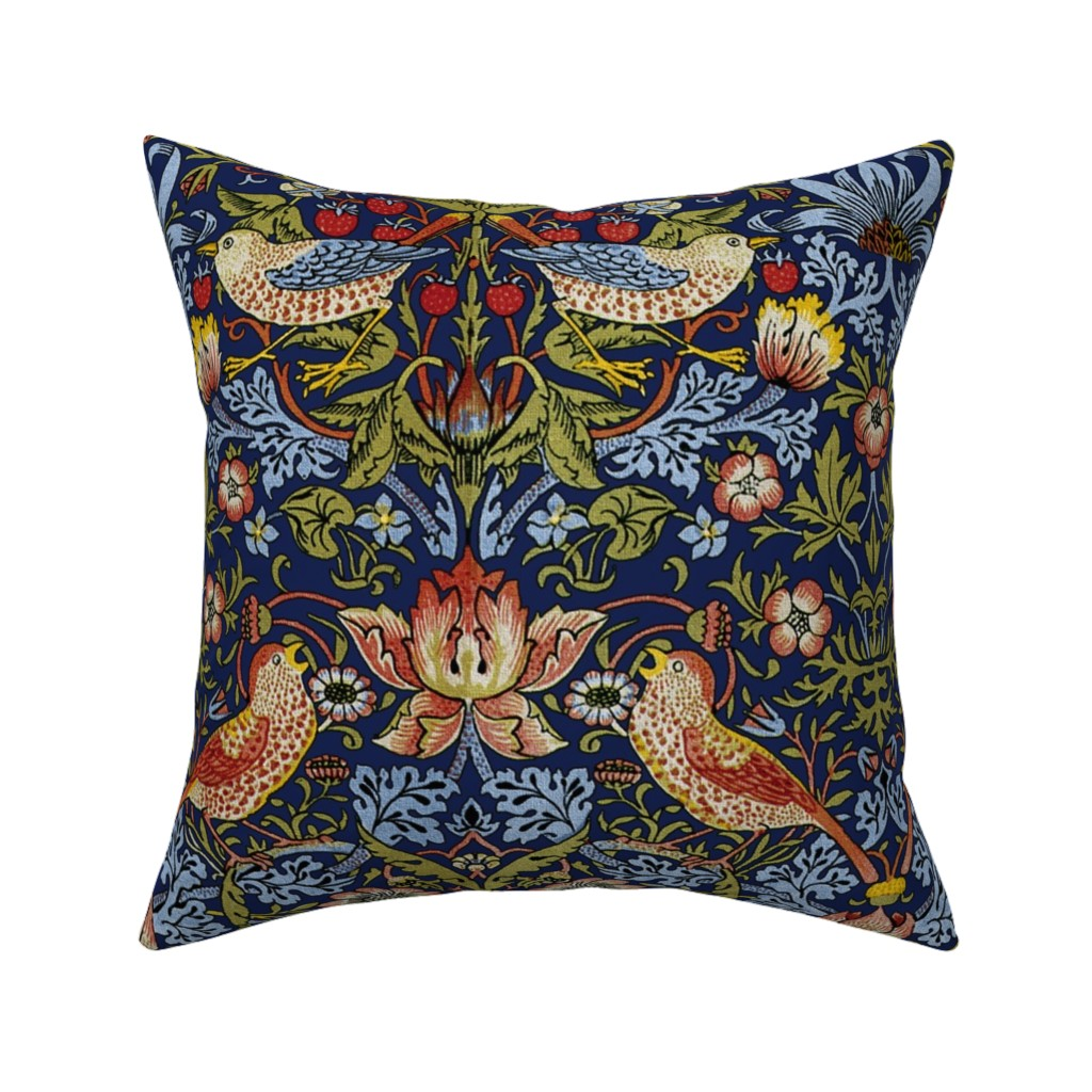 Catalan Throw Pillow featuring William Morris ~ Strawberry Thief ~ Bright Blue by peacoquettedesigns