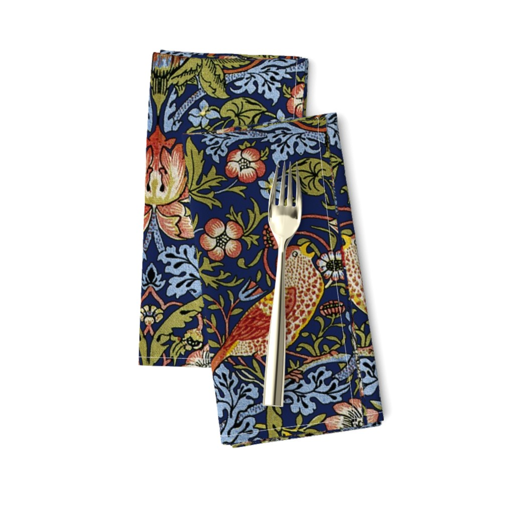 Amarela Dinner Napkins featuring William Morris ~ Strawberry Thief ~ Bright Blue by peacoquettedesigns