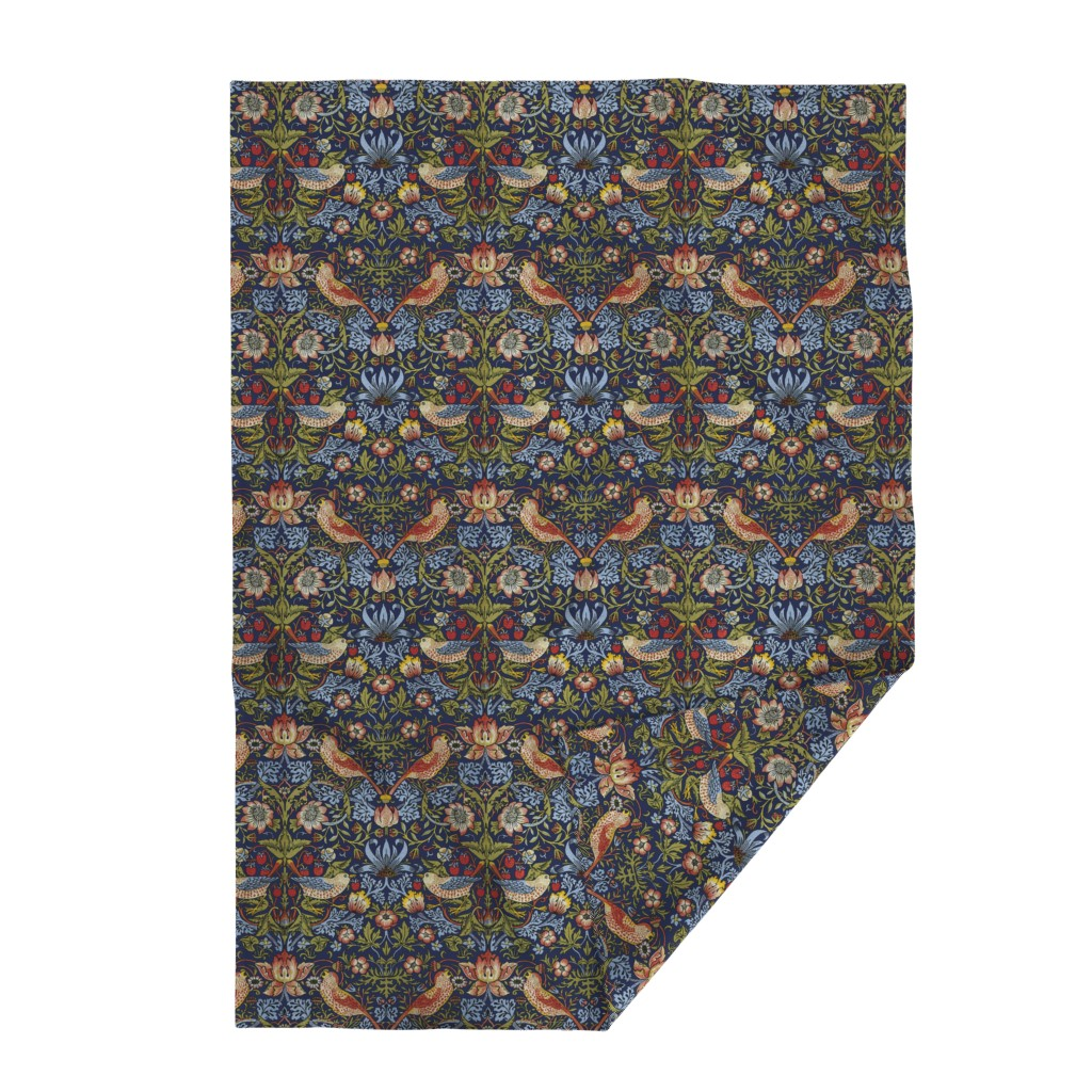 Lakenvelder Throw Blanket featuring William Morris ~ Strawberry Thief ~ Bright Blue by peacoquettedesigns