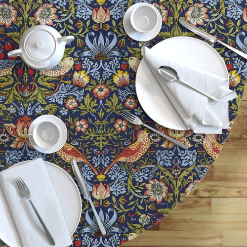 Victorian Round Tablecloth Floral Garden Cotton Sateen Circle Tablecloth by Spoonflower Strawberry Thief Large by peacoquettedesigns