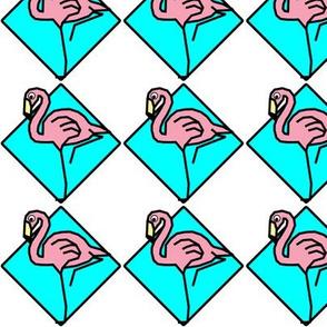 Pink Flamingos in Turquoise Diamonds