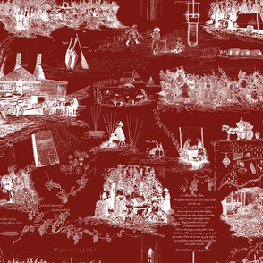 A Hoppin' We Will Go   White Toile on Red