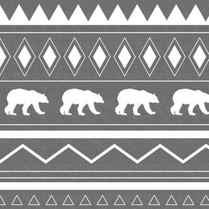 bear tribal pattern in gray and white