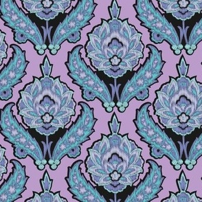 Modern Tribal Ikat Lilac || Floral Damask purple turquoise blue and Black_Miss Chiff Designs