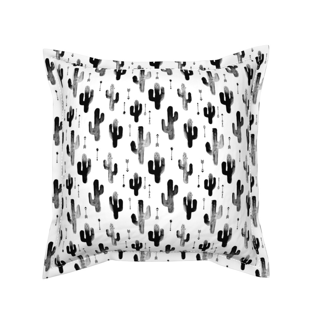 Serama Throw Pillow featuring Black and white watercolors ink cactus garden gender neutral geometric arrows cowboy theme by littlesmilemakers