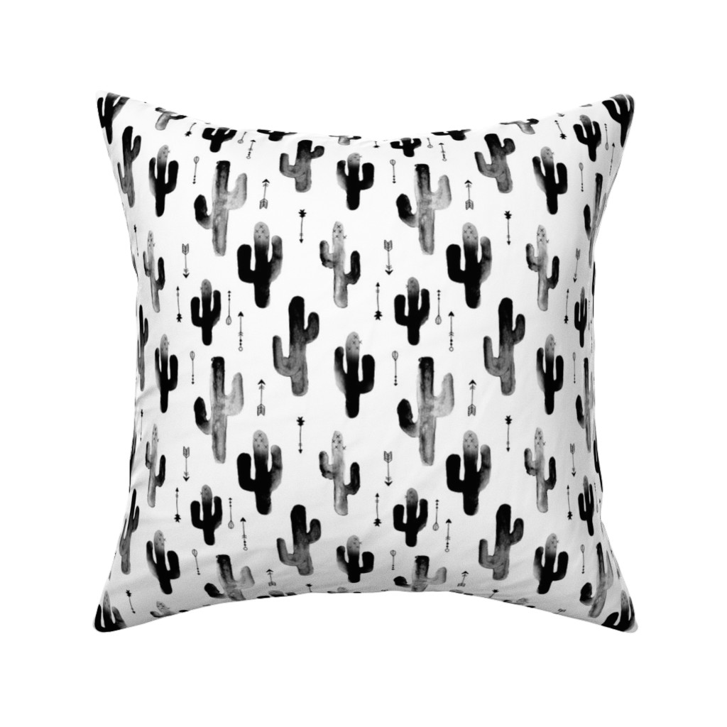 Catalan Throw Pillow featuring Black and white watercolors ink cactus garden gender neutral geometric arrows cowboy theme by littlesmilemakers