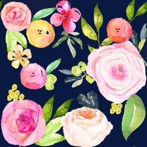 Watercolor Peonies + Poppies // Navy -LARGE PRINT