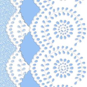 Alice Eyelet Border Print ~ Jasper Blue