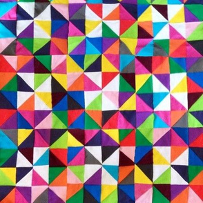 Colorful Cheater Triangle Squares Quilt Print