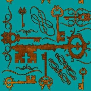 Steampunk Keys Blue