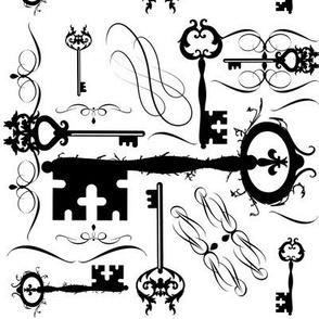 Steampunk Keys Black & White