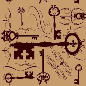 Steampunk Keys Sepia