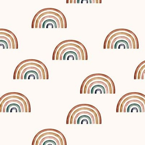 Scattered Earth tone Rainbows Ecru background || Earth toned watercolour rainbows || Rainbow Baby kids bedding