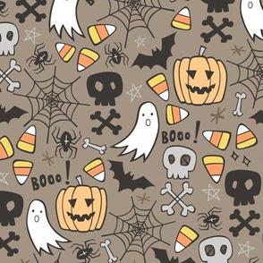 Halloween Doodle with Skulls,Bat,Pumpkin,Spiderweb,Ghost on Brown
