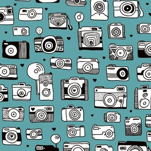Vintage camera memories cool retro toy camera photagraphy design gender neutral blue