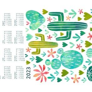 watercolor cacti  tea towel calendar 2021