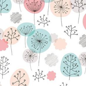Summer forest garden soft pastels scandinavian plants branches and flower coral peach blue