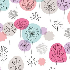 Summer forest garden soft pastels scandinavian plants branches and flower pink lilac