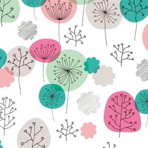 Summer forest garden soft pastels scandinavian plants branches and flower pink green