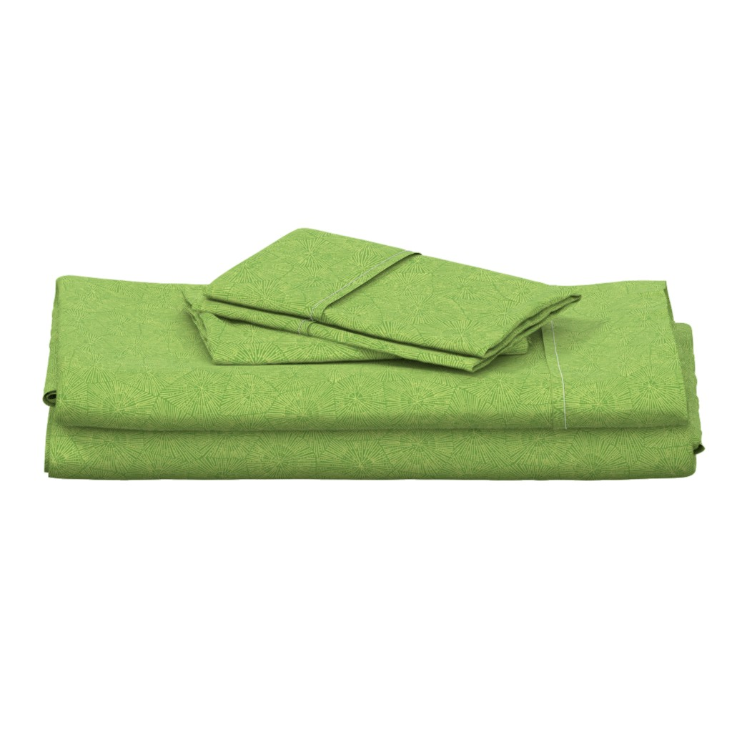 Langshan Full Bed Set featuring extra-large petoskey pattern in spring green by weavingmajor