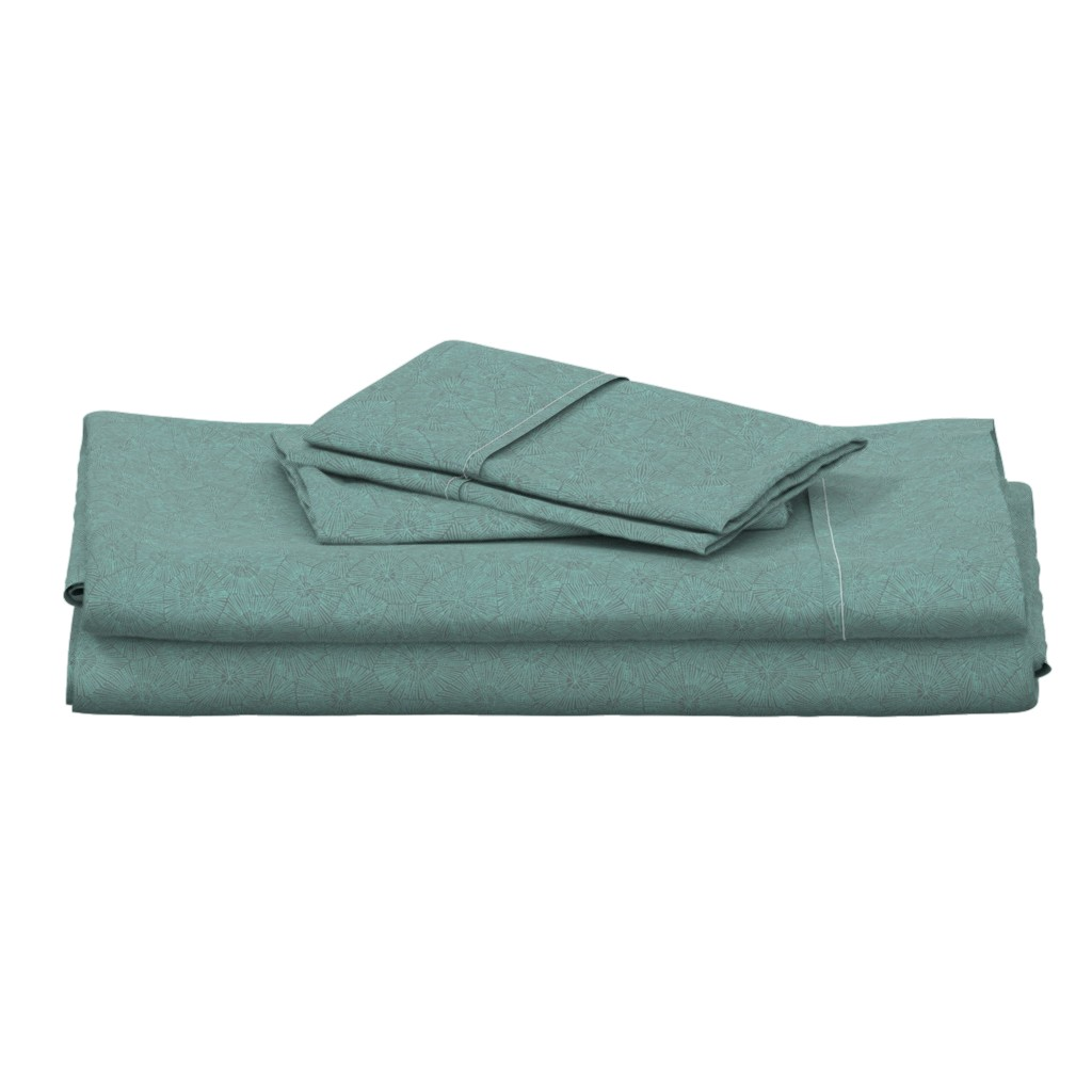 Langshan Full Bed Set featuring petoskey in teal and grey by weavingmajor