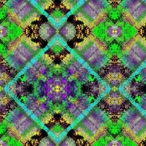 Psychedelic Diagonal Medley in Green - Purple - Aqua