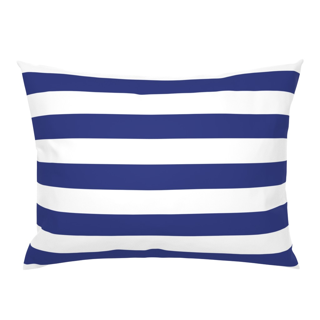Campine Pillow Sham featuring Wide stripes in Prussian Blue + White by Su_G by su_g