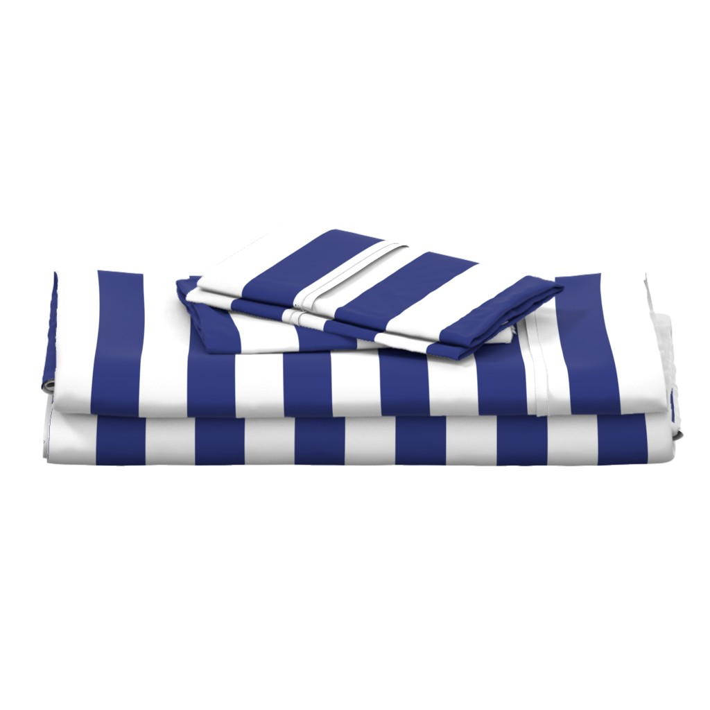 Langshan Full Bed Set featuring Wide stripes in Prussian Blue + White by Su_G by su_g