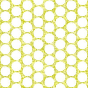 White polka dots on acid yellow linen weave by Su_G_©SuSchaefer