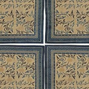 antique chinese rug floor carpet blue