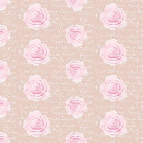 Shabby Chic Painted Roses on Summer Green with white French script-ch