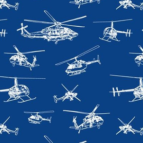 Helicopters on Blue // Small
