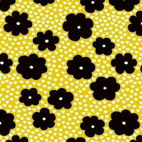 Cool scandinavian style abstract flowers dots and spots brush memphis garden summer yellow