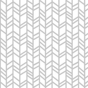 Crazy herringbone - light grey on white