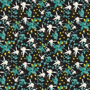 Cream Teal and Yellow Floral on Black_Miss chiff Designs