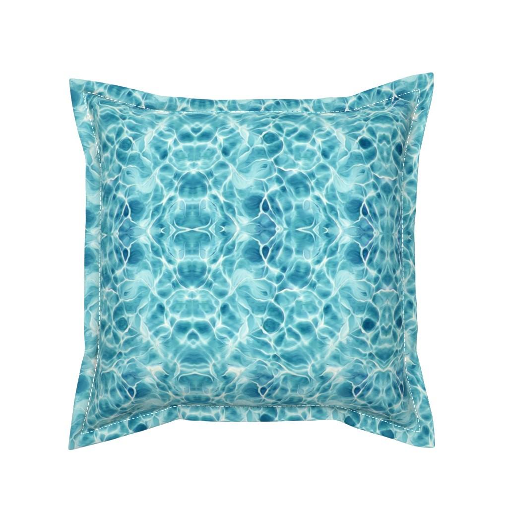 Serama Throw Pillow featuring Light Teal Ocean by lauriekentdesigns