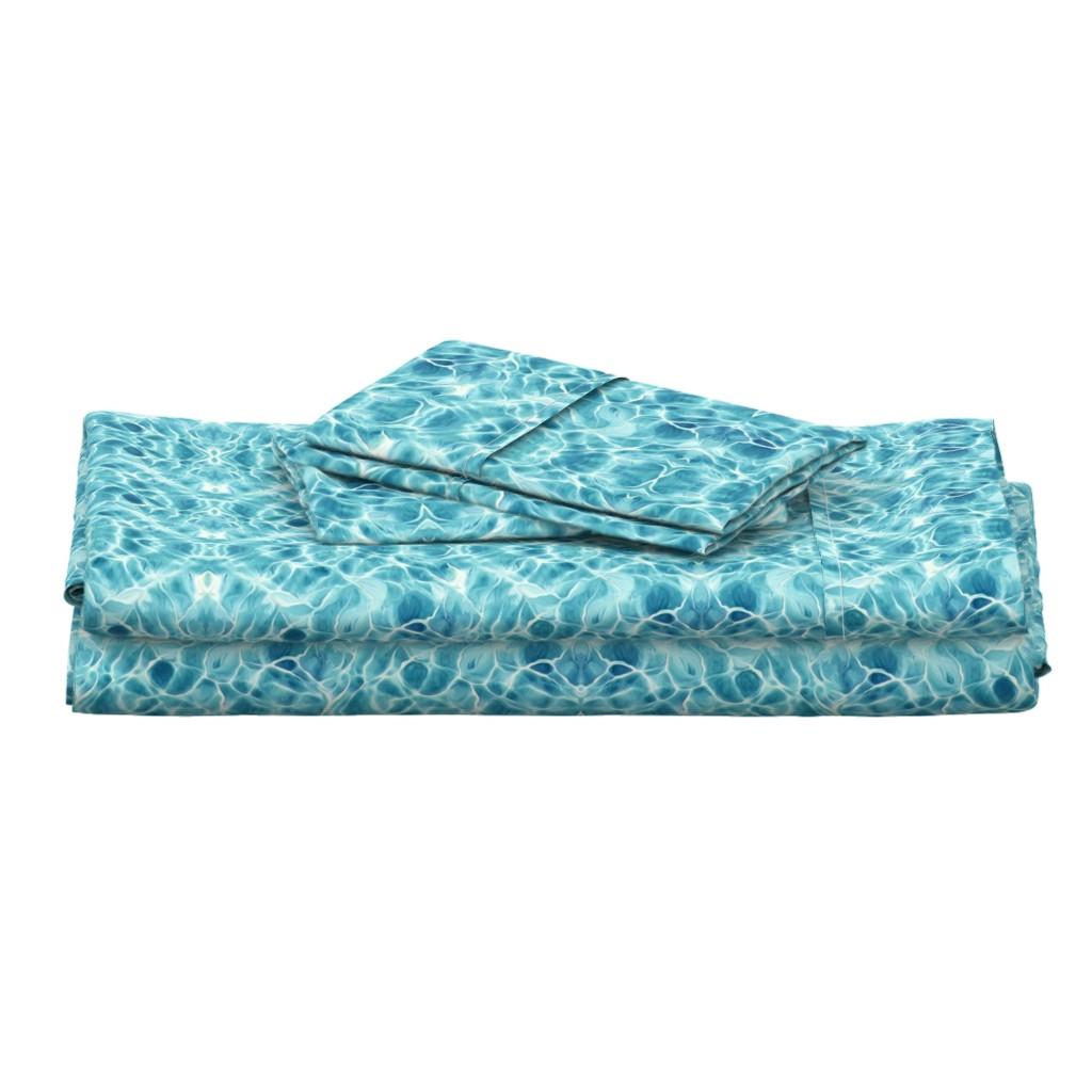 Langshan Full Bed Set featuring Light Teal Ocean by lauriekentdesigns
