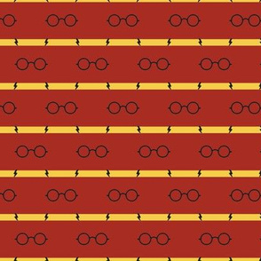 wizard's glasses - red/gold - side