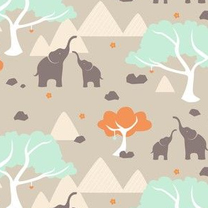 Stitched Together: Playful Elephants