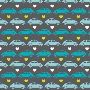 VW Beetle Love - Blue + Lime - Small