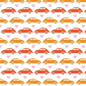 VW Beetle Love - Orange + Pink - Small