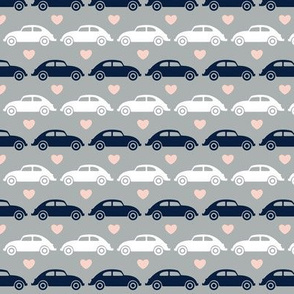 VW Beetle Love - Navy + Pink - Small
